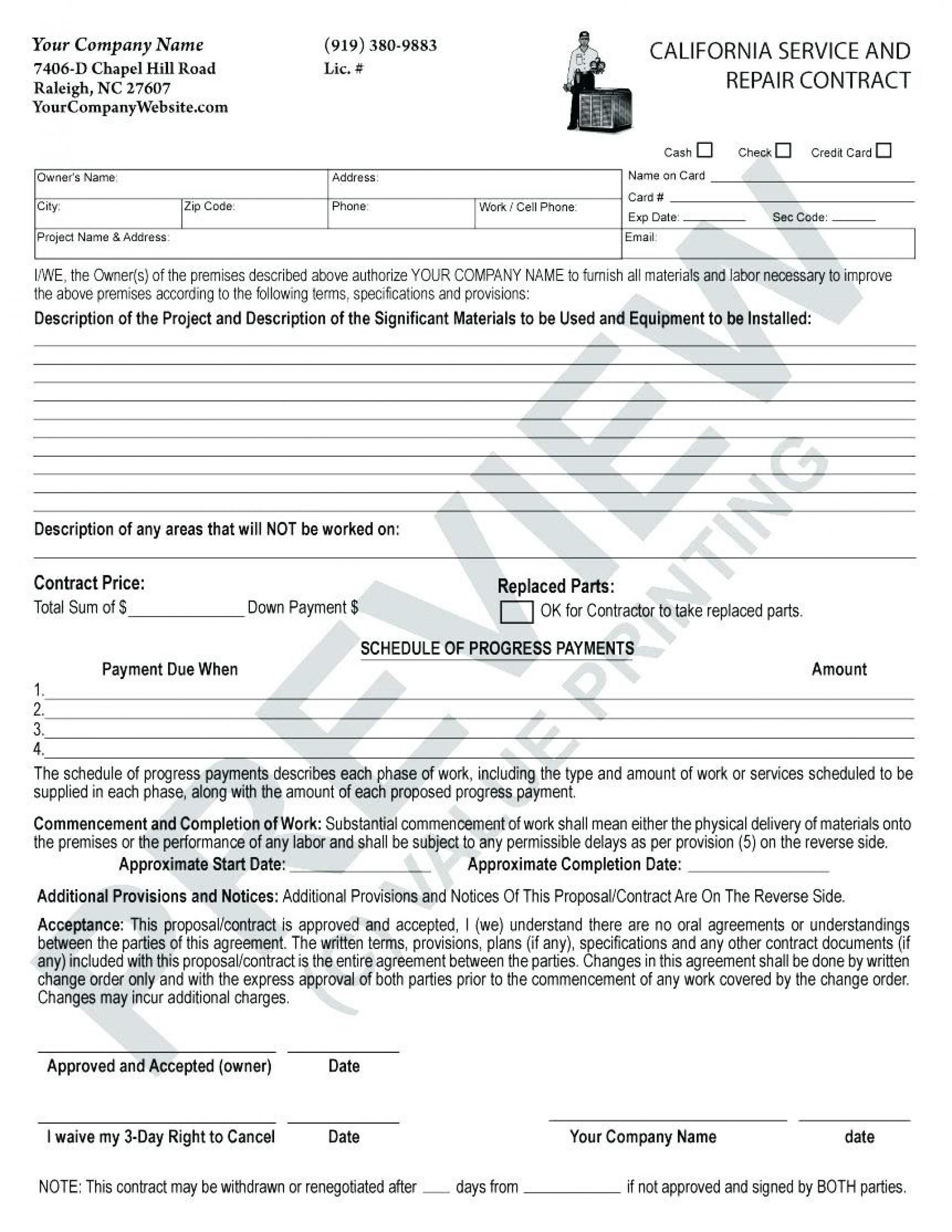 020 Hvac Service Contractate Maintenance Agreement Forms Free - Free Printable Service Contract Forms