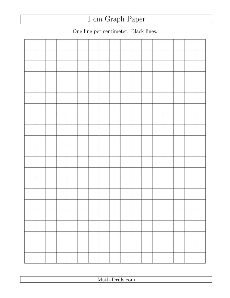 1 Cm Graph Paper With Black Lines (A) - Free Printable Graph Paper For Elementary Students