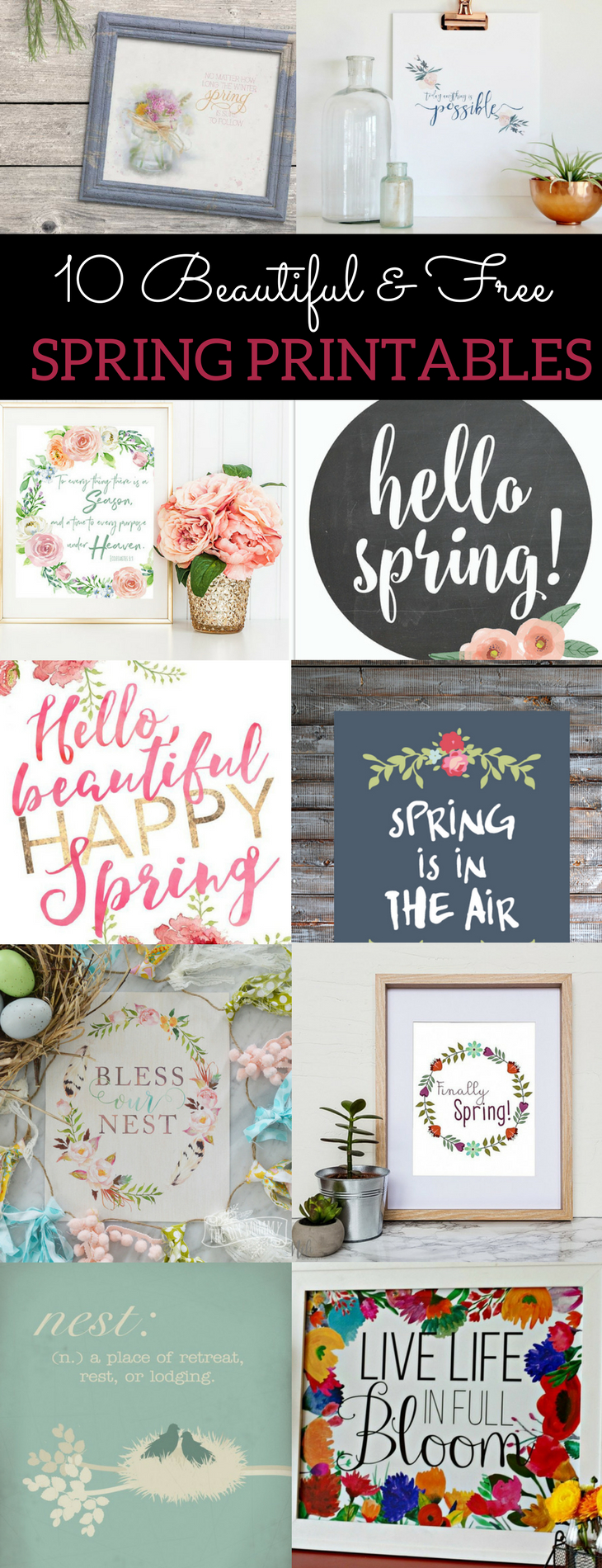 10 Beautiful & Free Spring Printables To Up Your Spring Decor Game - Free Printable Spring Decorations