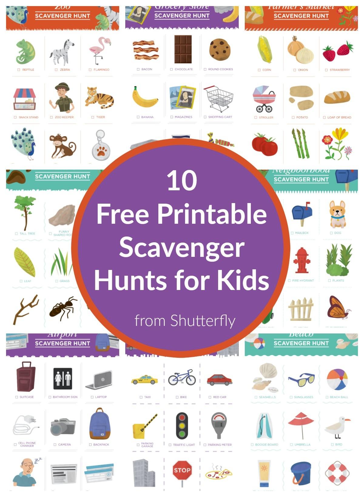 10 Free Scavenger Hunt Printables For Kids From Shutterfly - The - Free Printable Scavenger Hunt