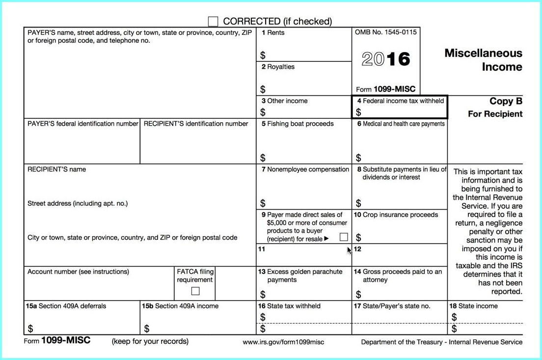 1099 Form 2015 Printable - Form : Resume Examples #eqwg1Av4Dk - Free Printable 1099 Form 2016