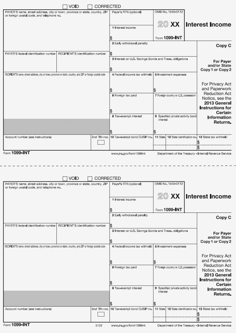 12-Int Payer Copy C Or State – Free Printable 1099 Form 2017 – Form - Free Printable 1099 Form