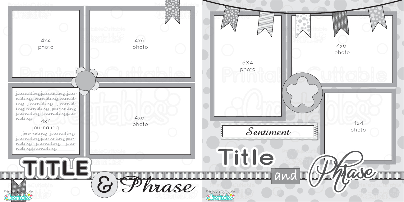 12X12 Two Page Free Printable Scrapbook Layout   Scrapbook Sketches - Free Printable Scrapbook Pages Online