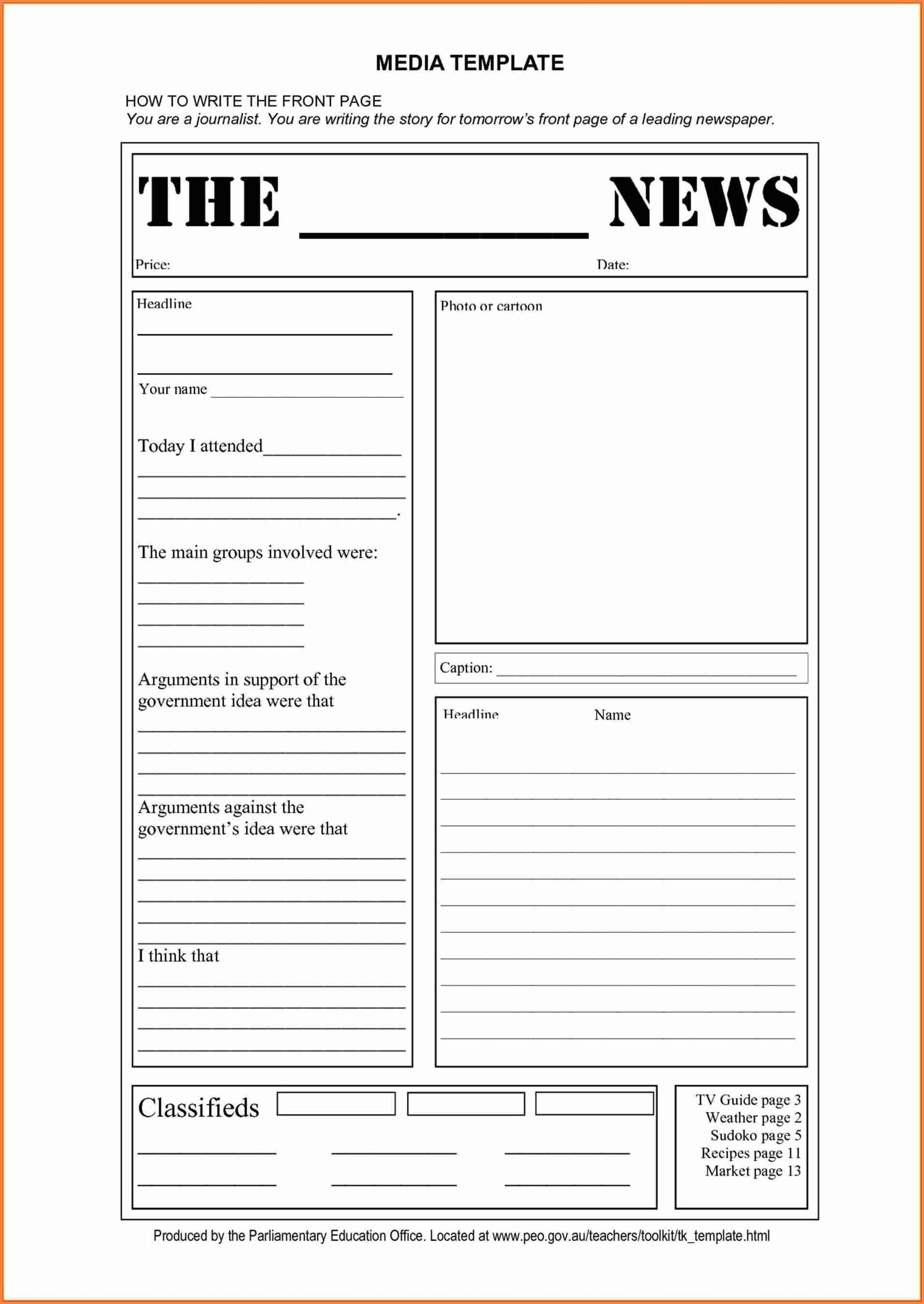15+ Blank Newspaper Template | Restaurant Receipt - Free Printable Newspaper Templates For Students