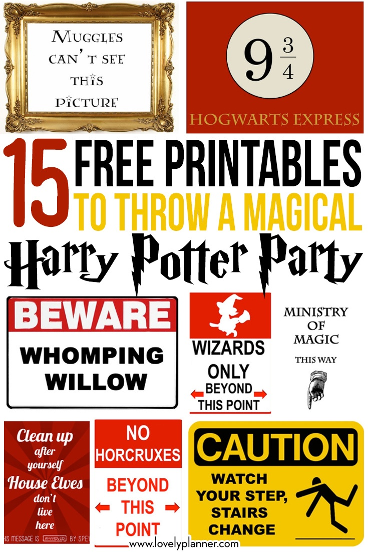 15 Free Harry Potter Party Printables - Part 1 - Lovely Planner - Free Harry Potter Printable Signs