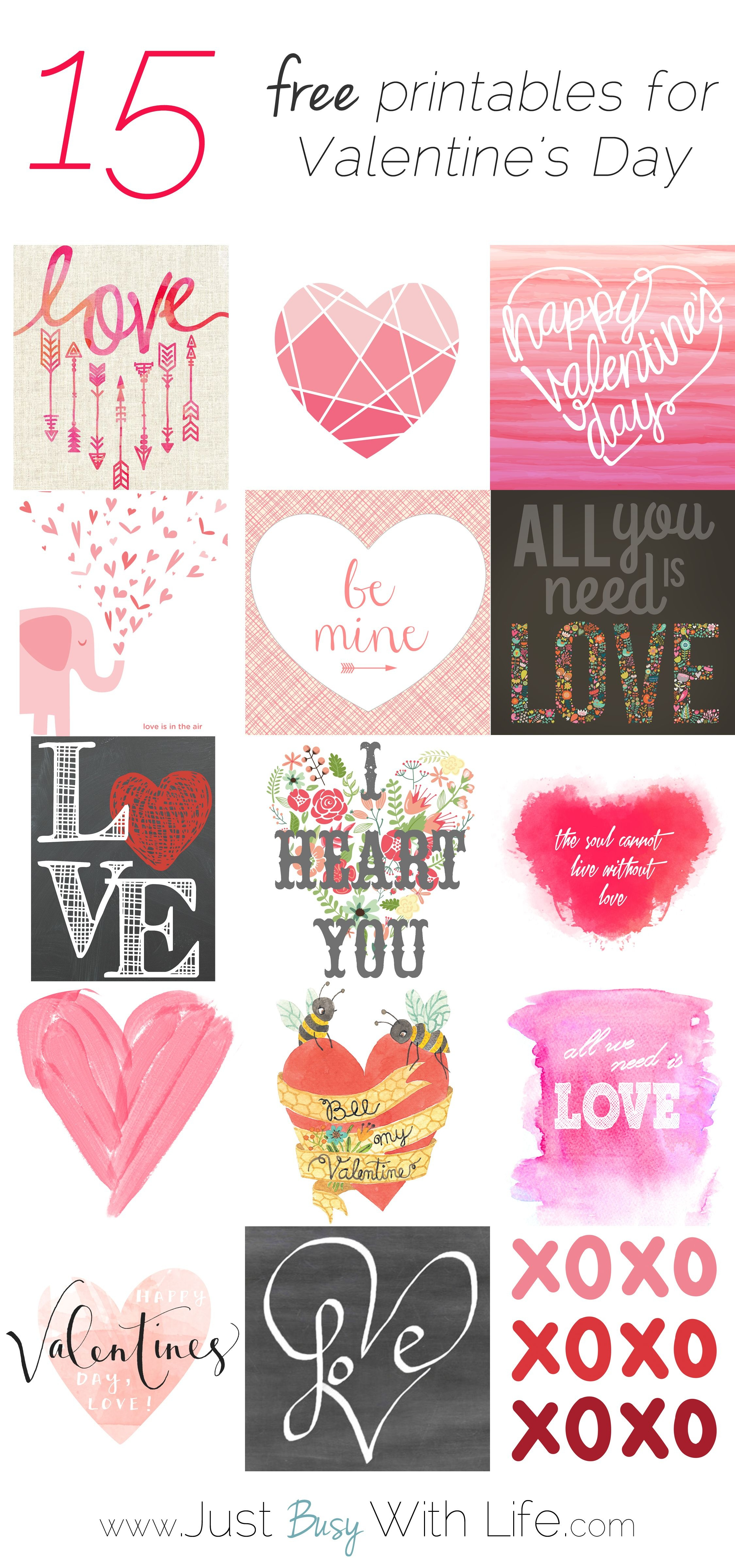 15 Free Valentine's Day Printables | Just Busy With Life | For - Free Printable Valentine's Day Decorations