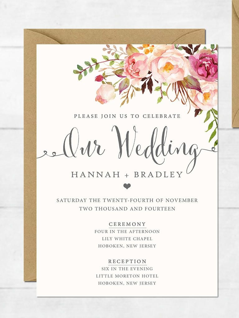 16 Printable Wedding Invitation Templates You Can Diy   Wedding - Free Printable Wedding Invitation Templates For Word