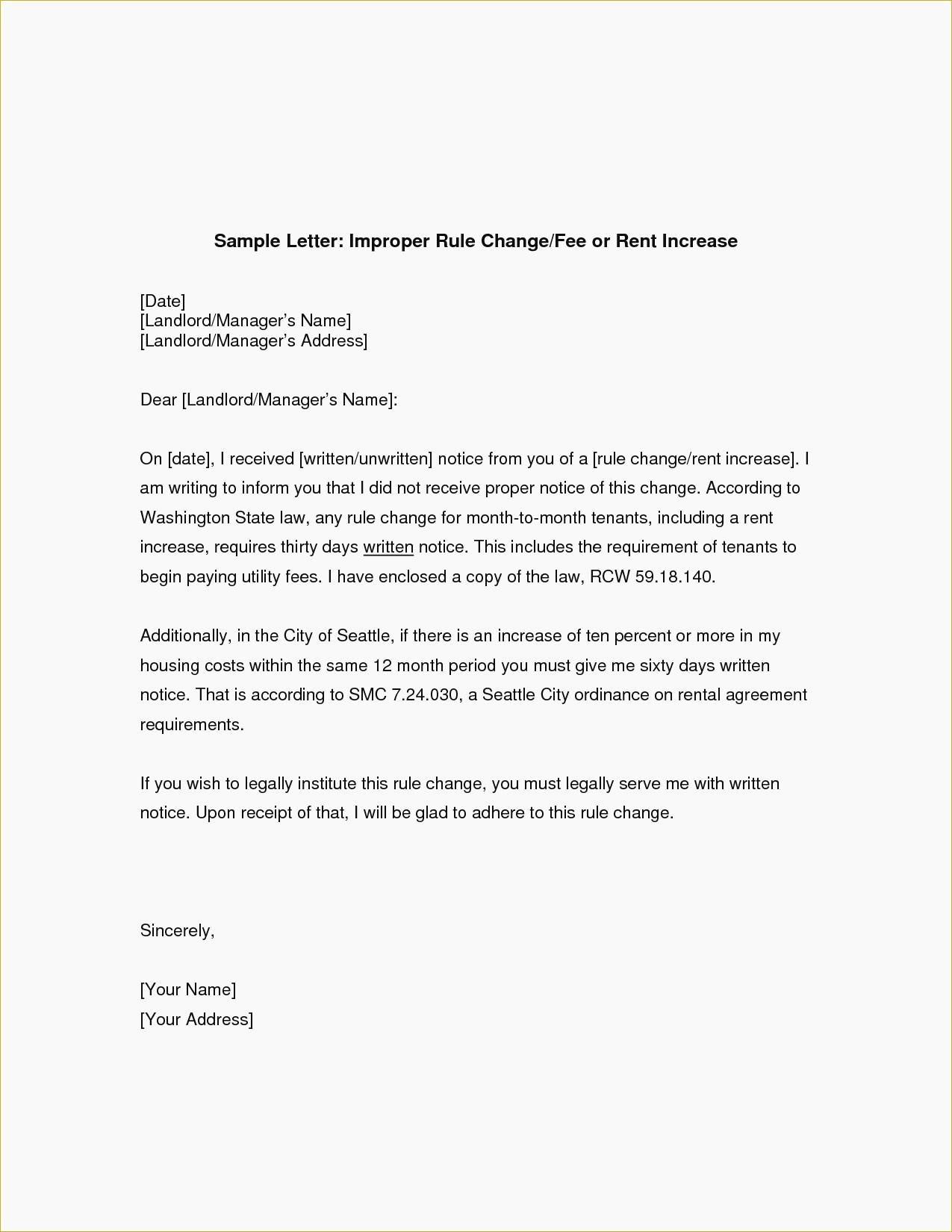 16 Rent Increase Letter To Tenant Template Collection - Letter Templates - Free Printable Rent Increase Letter