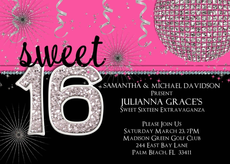 16Th Birthday Party Invitations Templates • Invitation Template Ideas - Free Printable 16Th Birthday Party Invitation Templates
