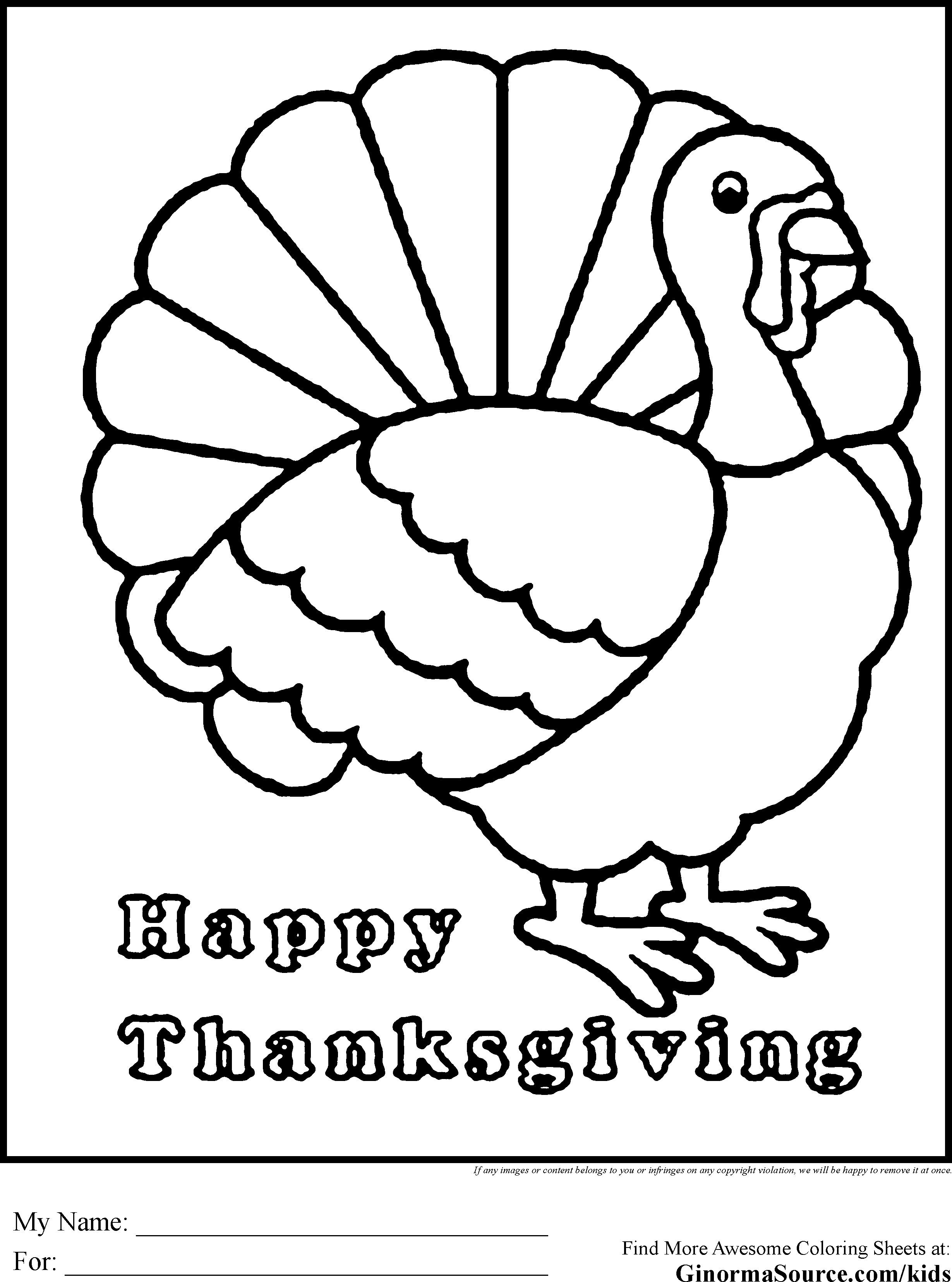 20 Free Pictures For: Printable Thanksgiving Coloring Pages. Temoon - Free Printable Turkey Coloring Pages
