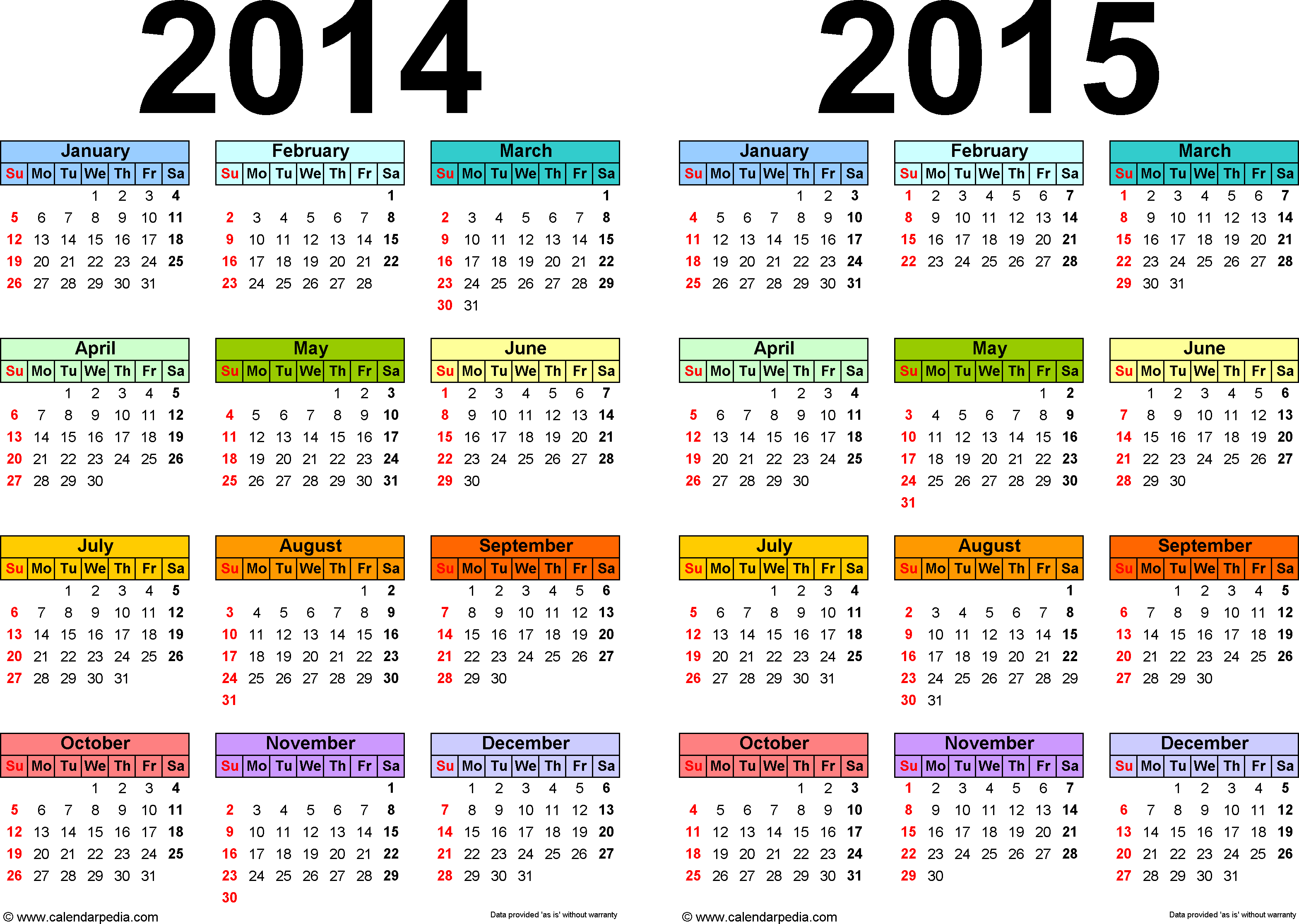 2014-2015 Calendar - Free Printable Two-Year Pdf Calendars - Free Printable Diary 2015