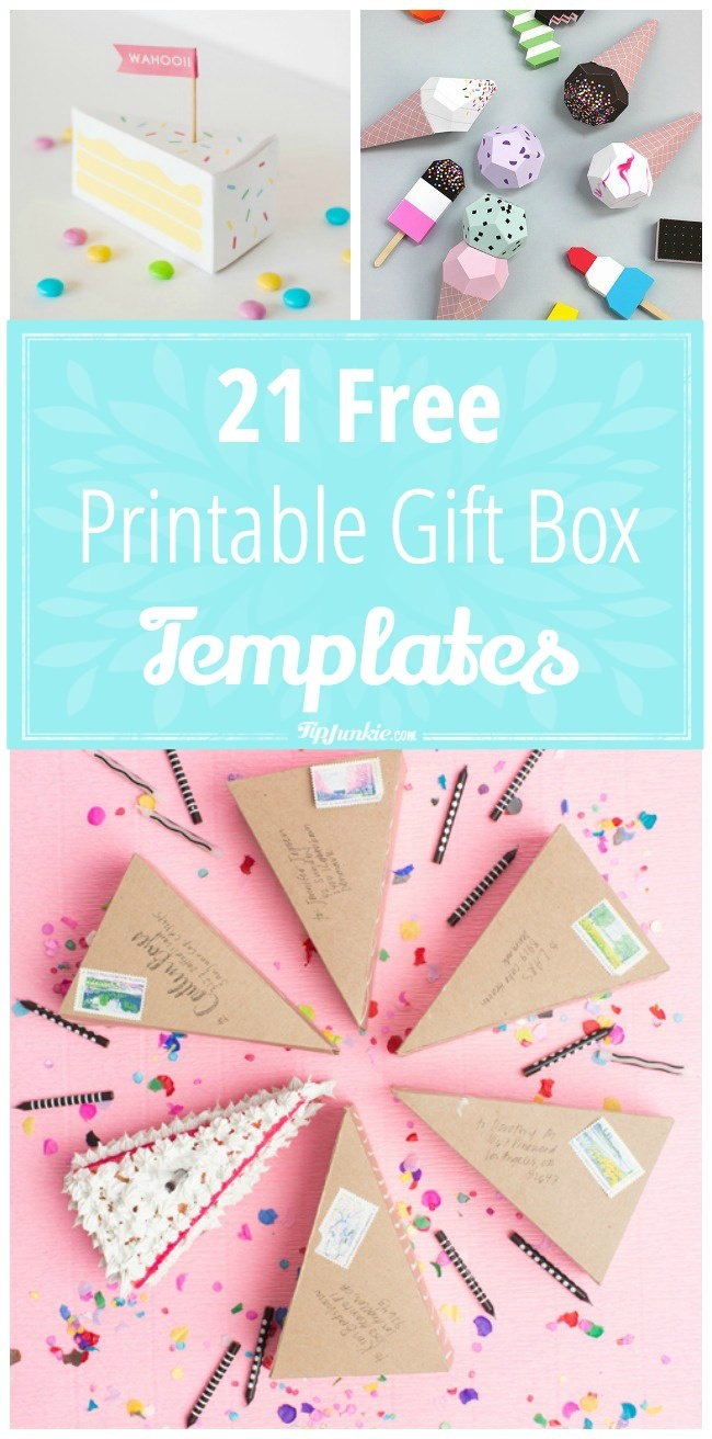 21 Free Printable Gift Box Templates – Tip Junkie - Printable Box Templates Free Download