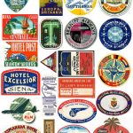 22 Travel Luggage Labels   Retro Digital Printable Collage Sheets   Free Printable Travel Stickers