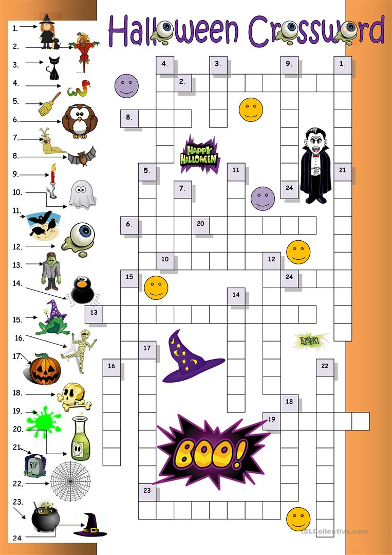 23 Free Esl Halloween Crossword Worksheets - Halloween Crossword Printable Free