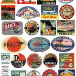 25 Travel Luggage Stickers Retro Digital Printable Collage | Etsy   Free Printable Travel Stickers