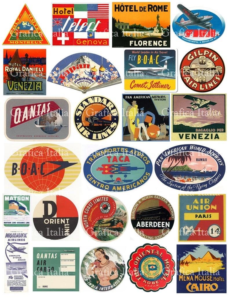 25 Travel Luggage Stickers Retro Digital Printable Collage   Etsy - Free Printable Travel Stickers