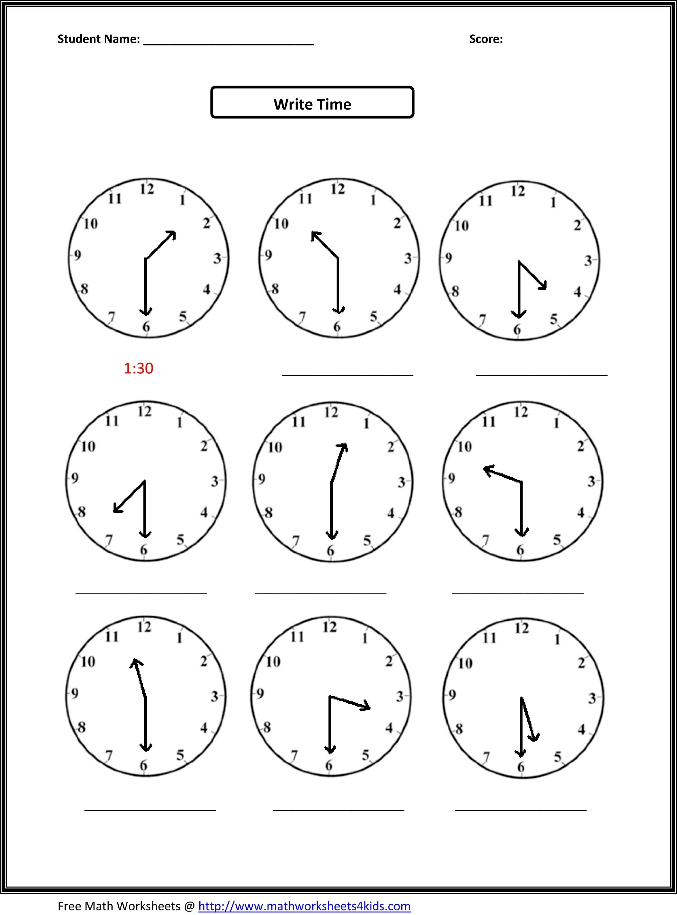 2Nd Grade Free Worksheets Math | Math: Time/measurement | 2Nd Grade - Free Printable Telling Time Worksheets For 1St Grade