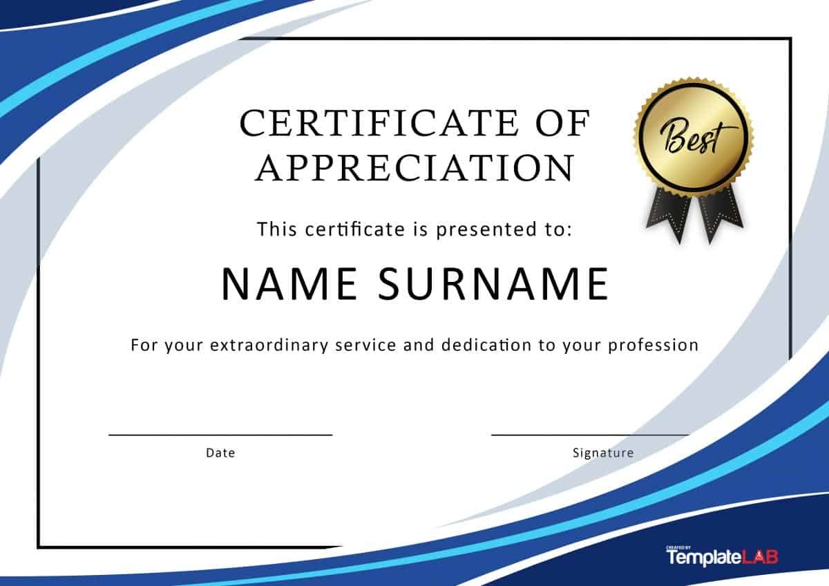 30 Free Certificate Of Appreciation Templates And Letters - Free Printable Templates For Certificates Of Recognition