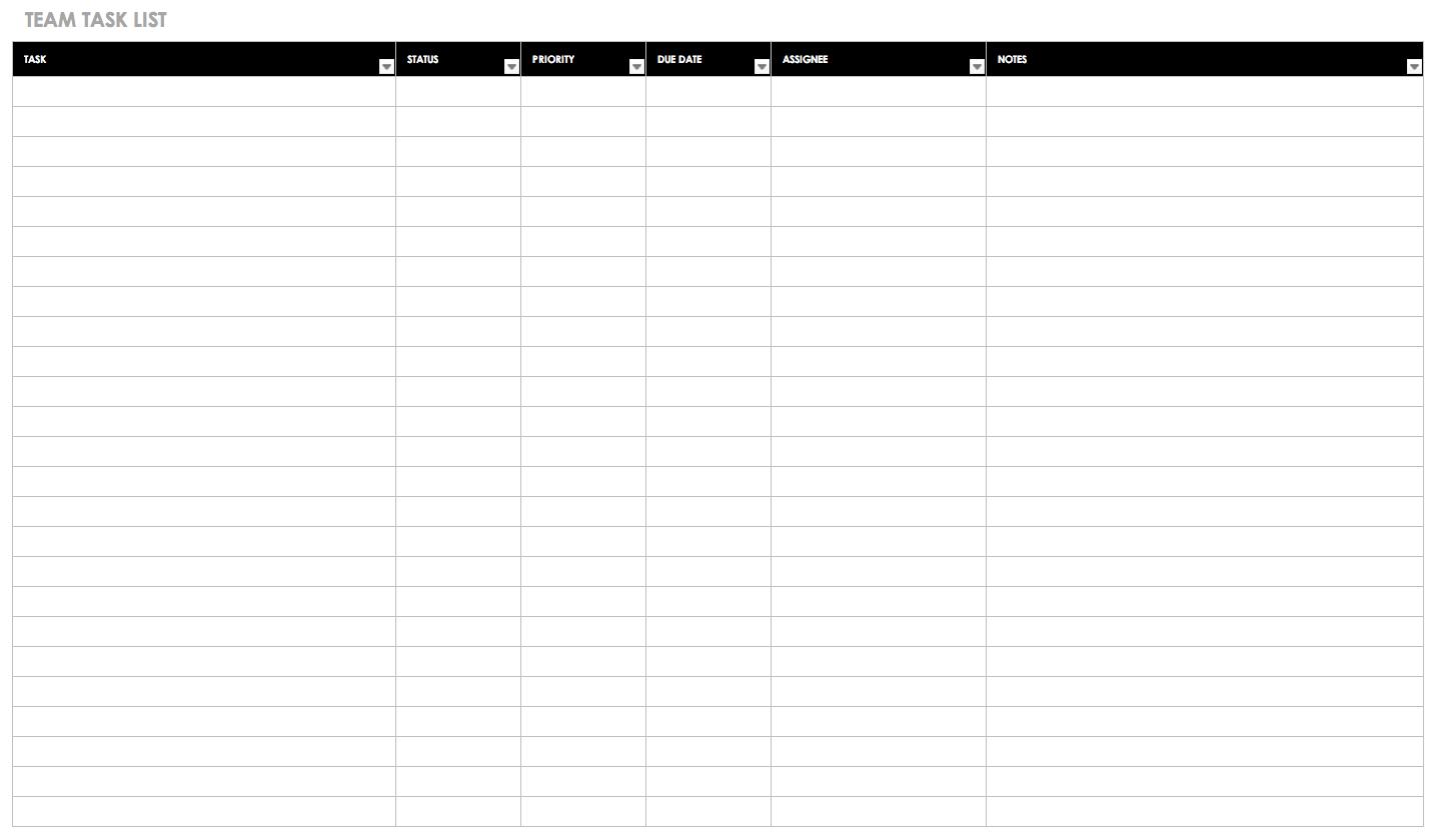 30+ Free Task And Checklist Templates   Smartsheet - Free Printable Task Organizer