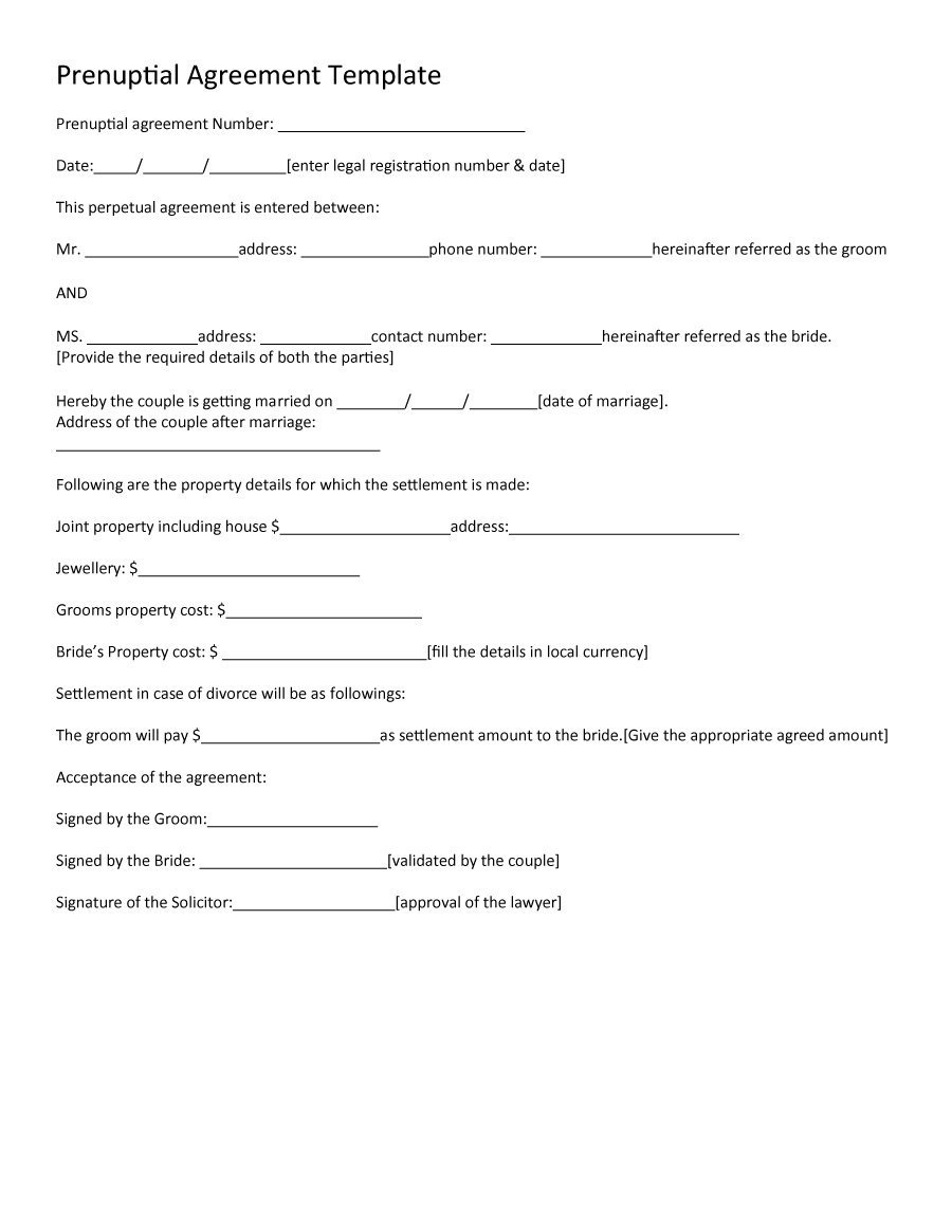 30+ Prenuptial Agreement Samples & Forms ᐅ Template Lab - Free Printable Divorce Papers Nevada