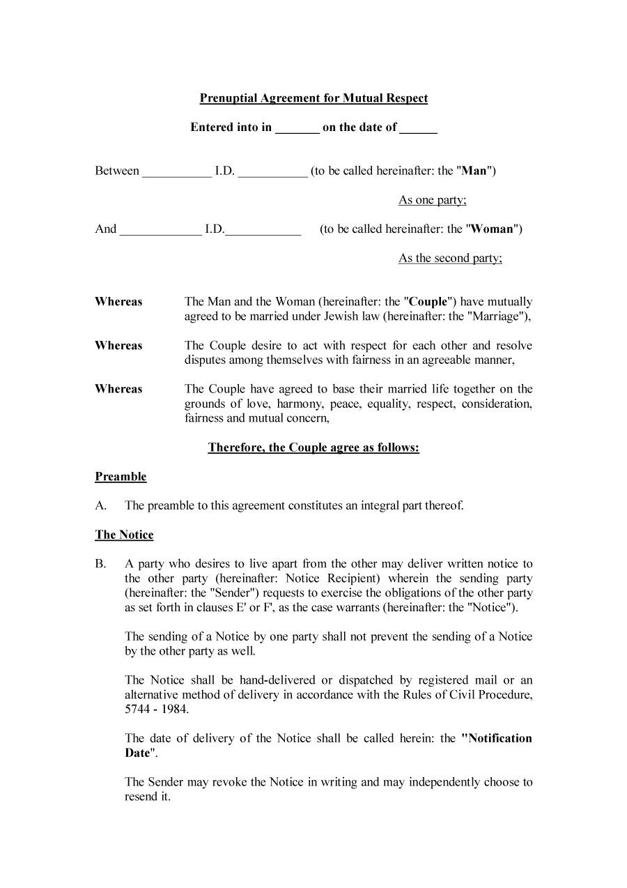 30+ Prenuptial Agreement Samples & Forms ᐅ Template Lab - Free Printable Prenuptial Agreement Form