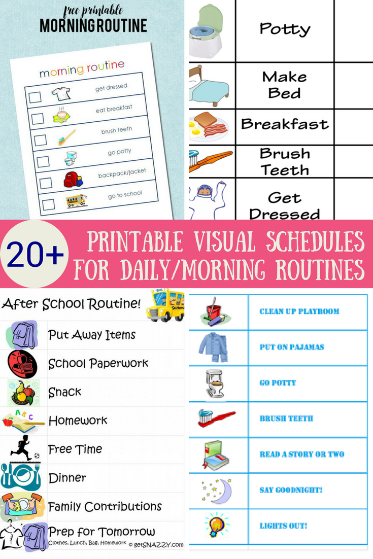 33 Printable Visual/picture Schedules For Home/daily Routines. | Hs - Free Printable Schedule Cards