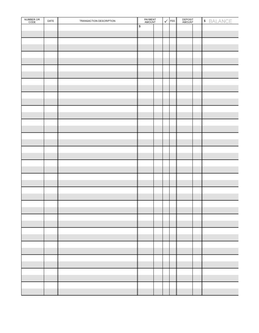 37 Checkbook Register Templates [100% Free, Printable] ᐅ Template Lab - Free Printable Transaction Register