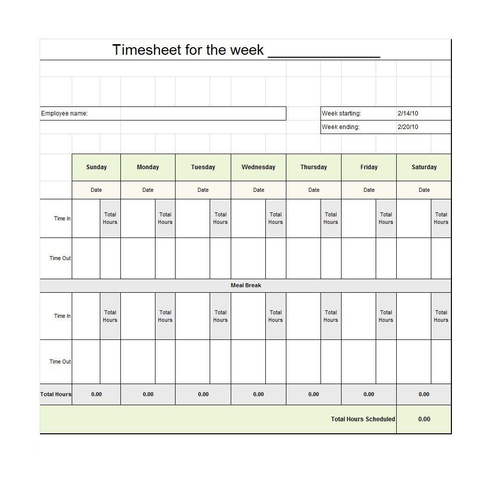 40 Free Timesheet / Time Card Templates ᐅ Template Lab - Free Printable Time Sheets
