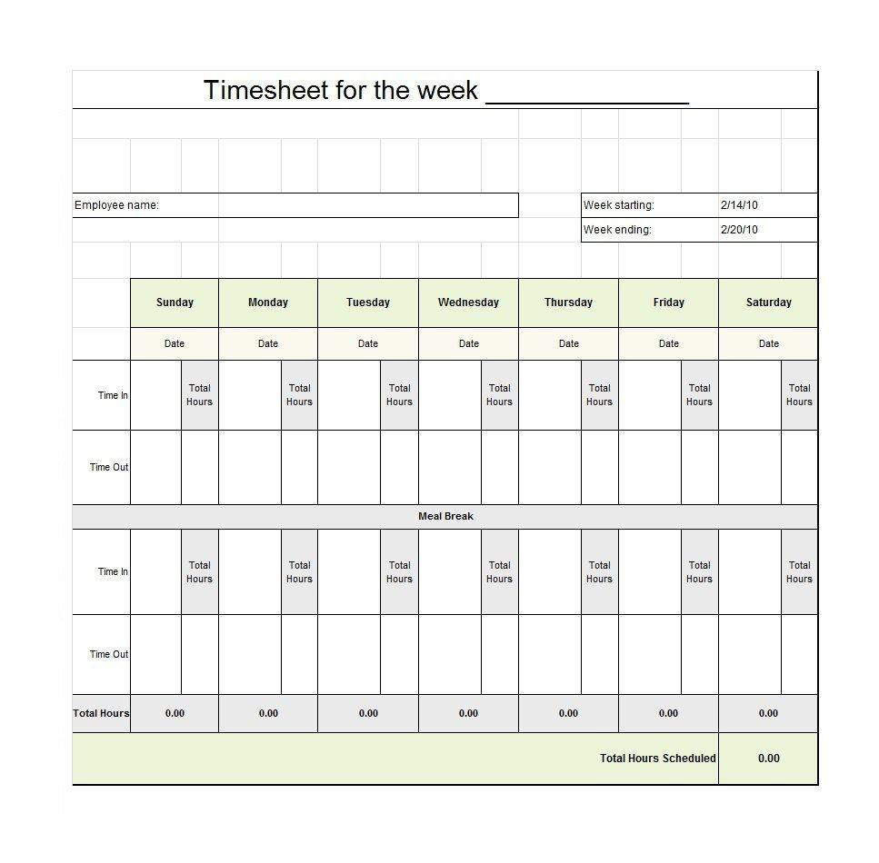 40 Free Timesheet / Time Card Templates ᐅ Template Lab - Time Card Templates Free Printable