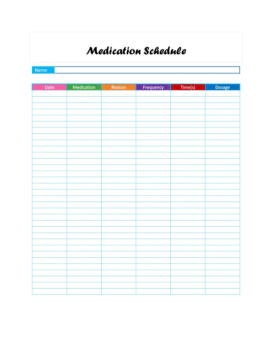 40 Great Medication Schedule Templates (+Medication Calendars) - Free Printable Medication List Template