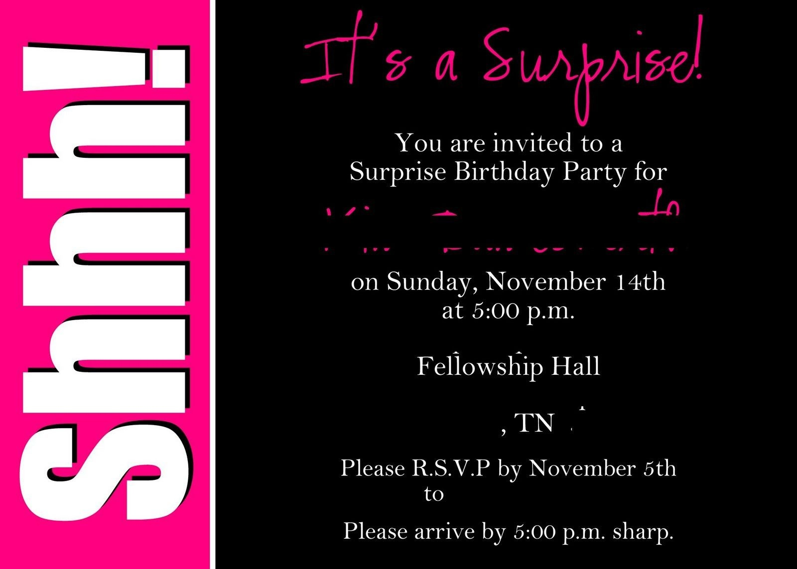 40Th Surprise Birthday Party Invitations | Free Printable Birthday - Free Printable 18Th Birthday Invitations