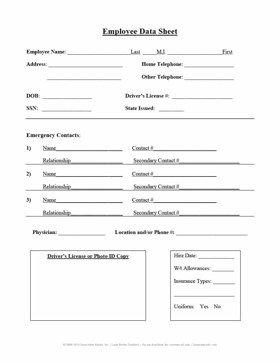 47 Printable Employee Information Forms (Personnel Information Sheets) - Free Printable Customer Information Sheets