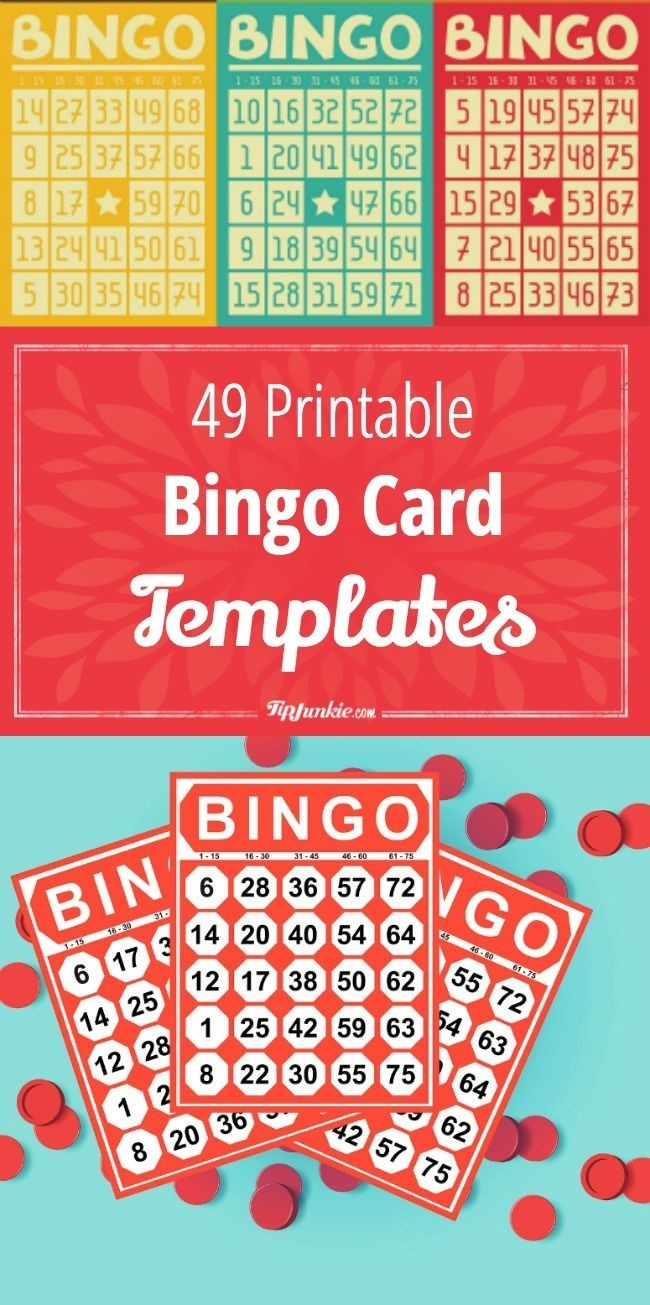 49 Printable Bingo Card Templates | Printables | Bingo Card Template - Free Printable Bingo Cards Random Numbers