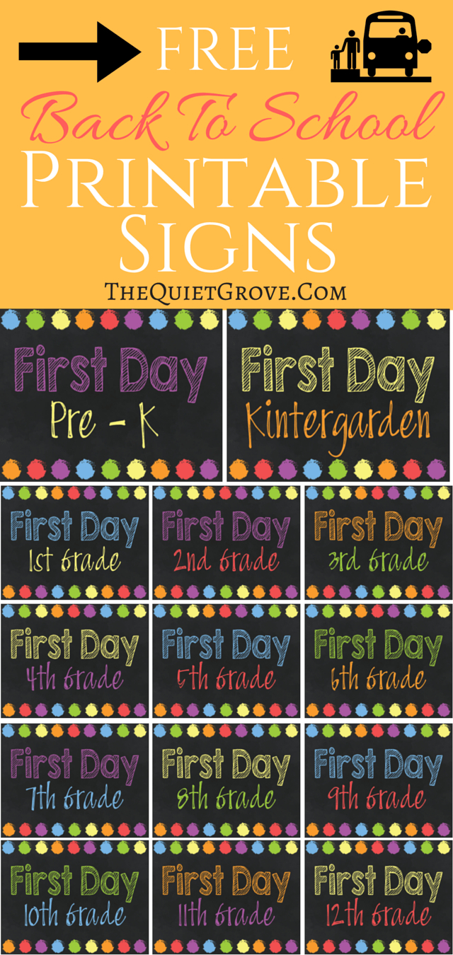 5 Free Back To School Printable Sign Sets | The Quiet Grove | Best - Free Printable Back To School Signs