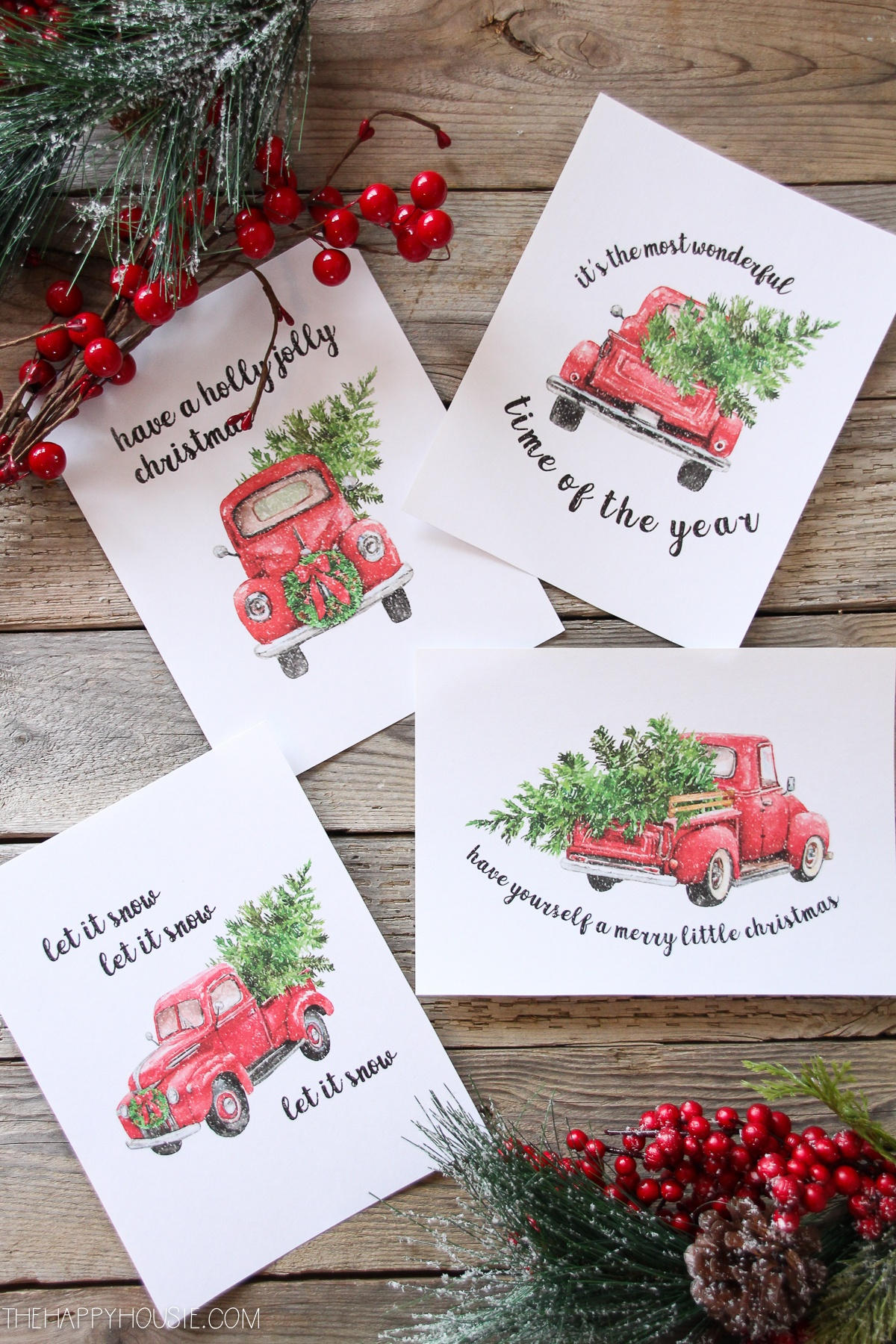 5 Free Vintage Truck Christmas Printables | The Happy Housie - Free Printable Christmas Decorations