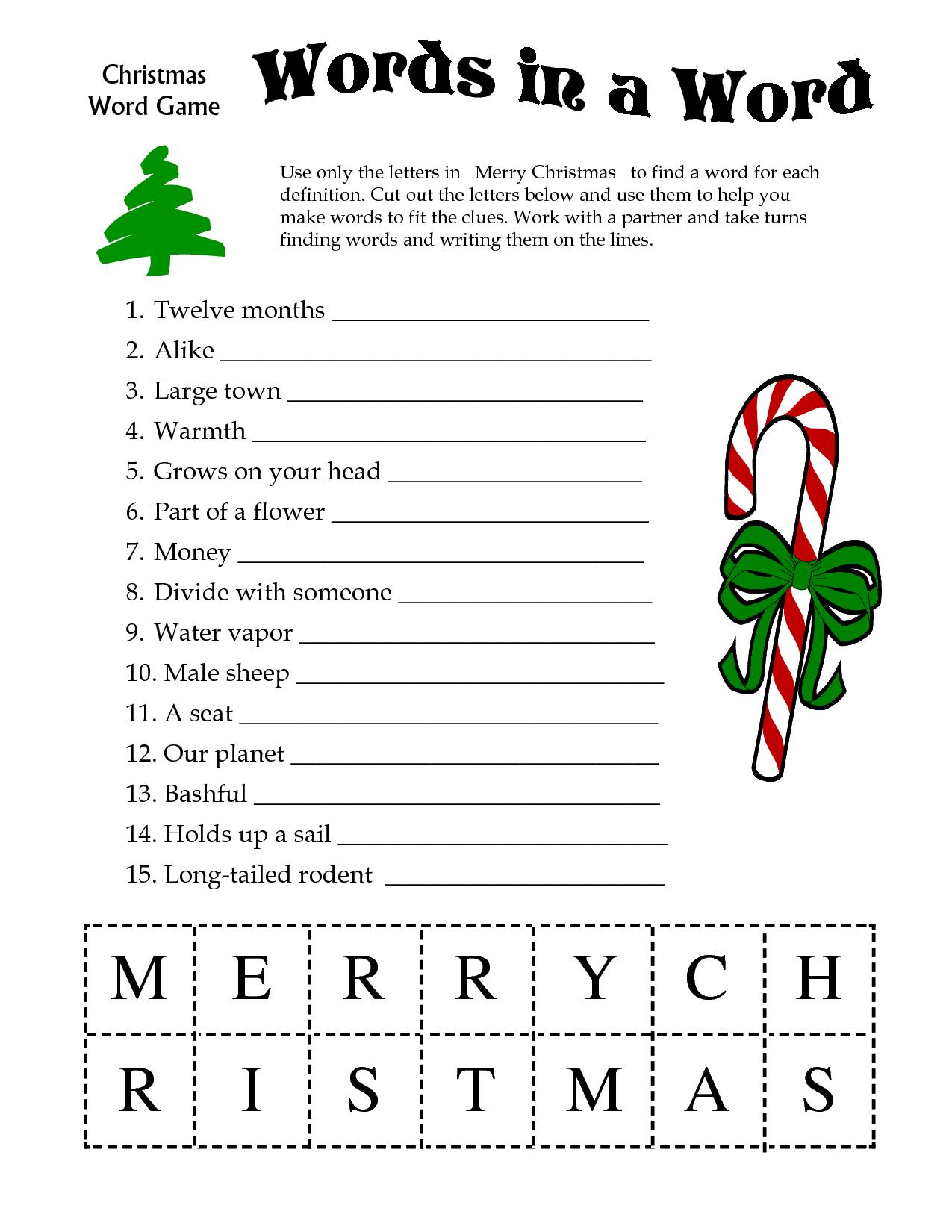 5 Images Of Free Printable Christmas Word Games | Printablee - Free Printable Christmas Games And Puzzles
