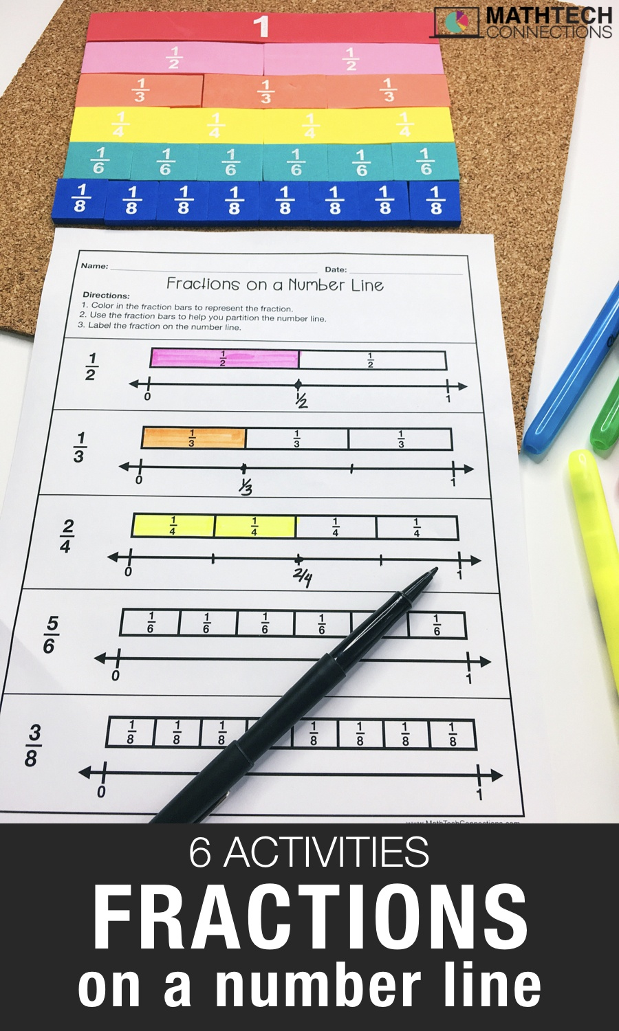 6 Activities To Practice Fractions On A Number Line - Math Tech - Free Printable Math Centers