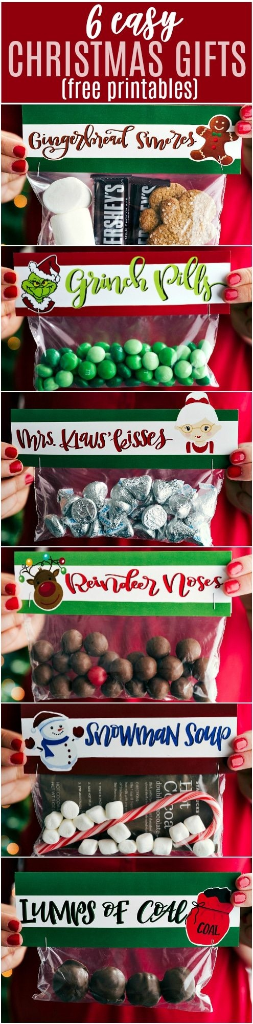 6 Easy Christmas Gifts {Free Printables}   Chelsea's Messy Apron - Free Printable Christmas Bag Toppers Templates
