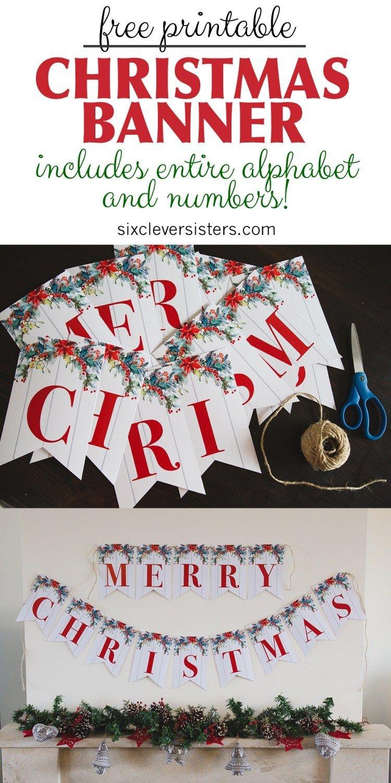 6 Free Printable Christmas Signs   Christmas   Merry Christmas - Free Printable Christmas Banner