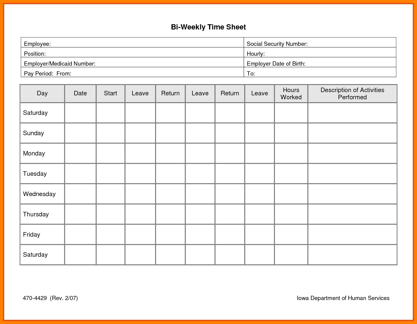 6+ Free Printable Time Sheets | Reptile Shop Birmingham - Free Printable Weekly Time Sheets