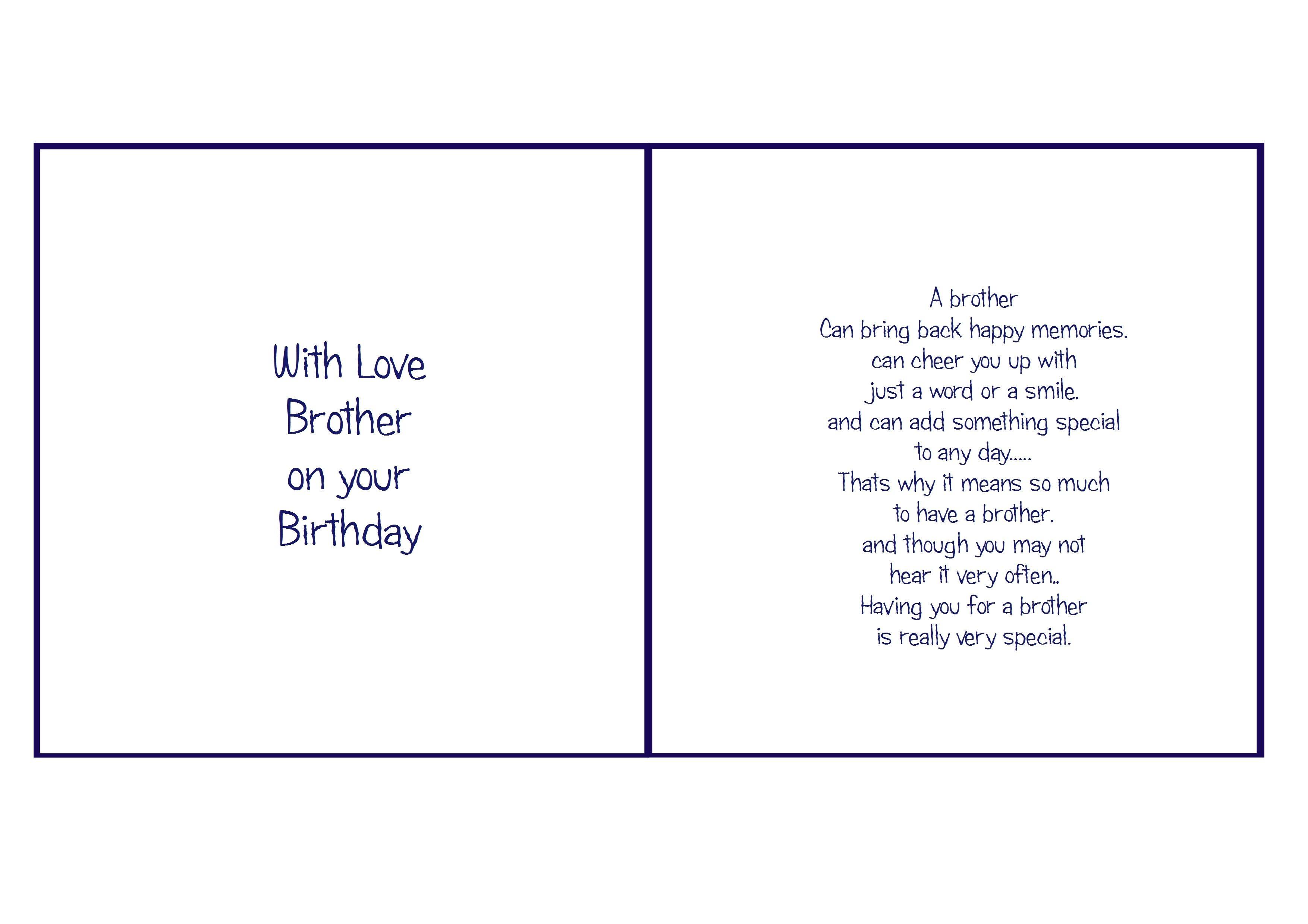 6X6 Brother Birthday | Card Verses | Christmas Card Verses, Birthday - Free Printable Birthday Cards For Brother