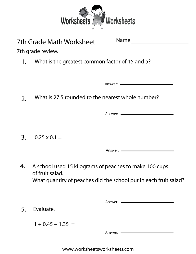 7Th Grade Math Review Worksheet - Free Printable Educational Worksheet - 7Th Grade Spelling Worksheets Free Printable