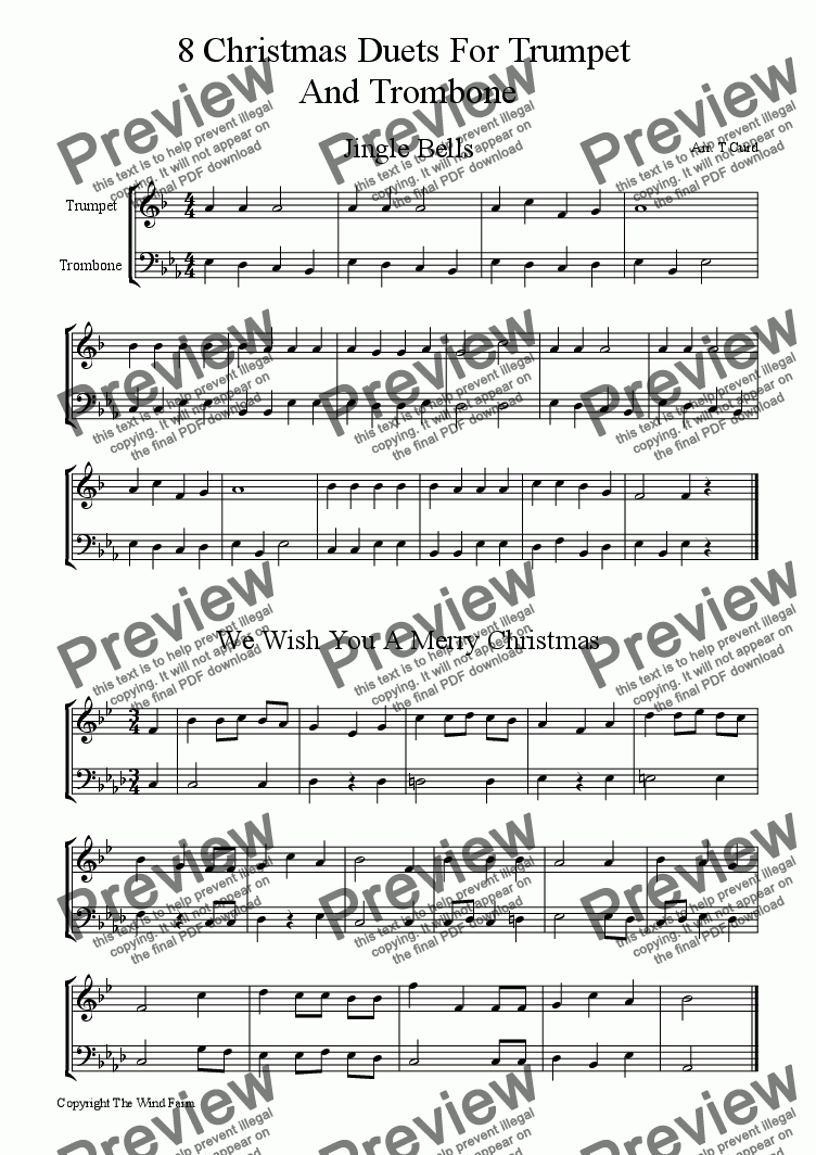 8 Christmas Duets For Trumpet And Trombone - Download Sheet Music Pdf - Trombone Christmas Sheet Music Free Printable