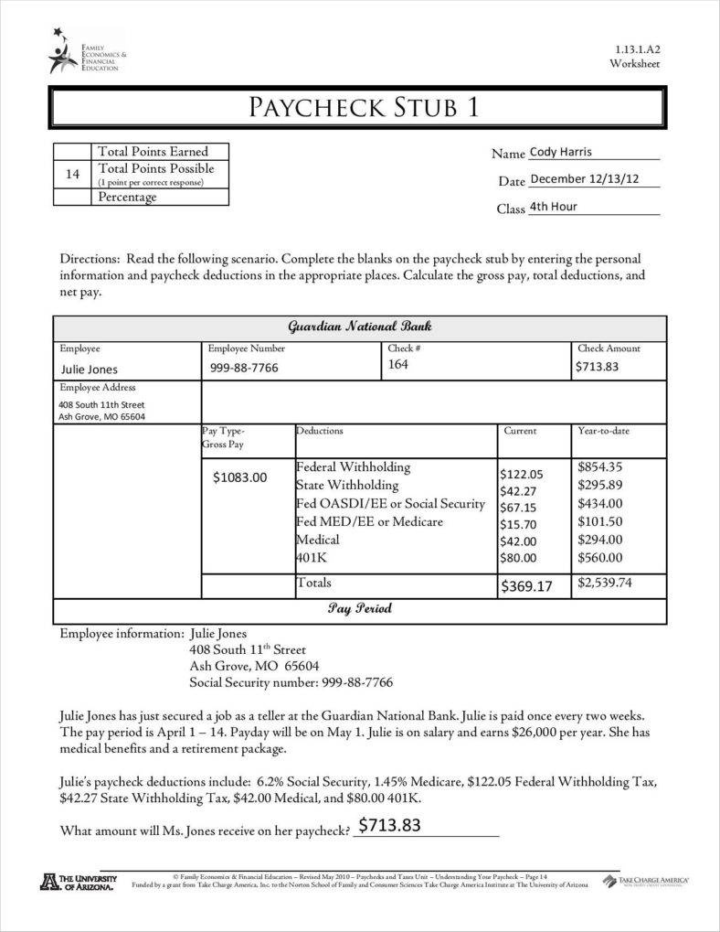9+ Free Pay Stub Templates Word, Pdf, Excel Format Download   Free - Free Printable Blank Check Stubs