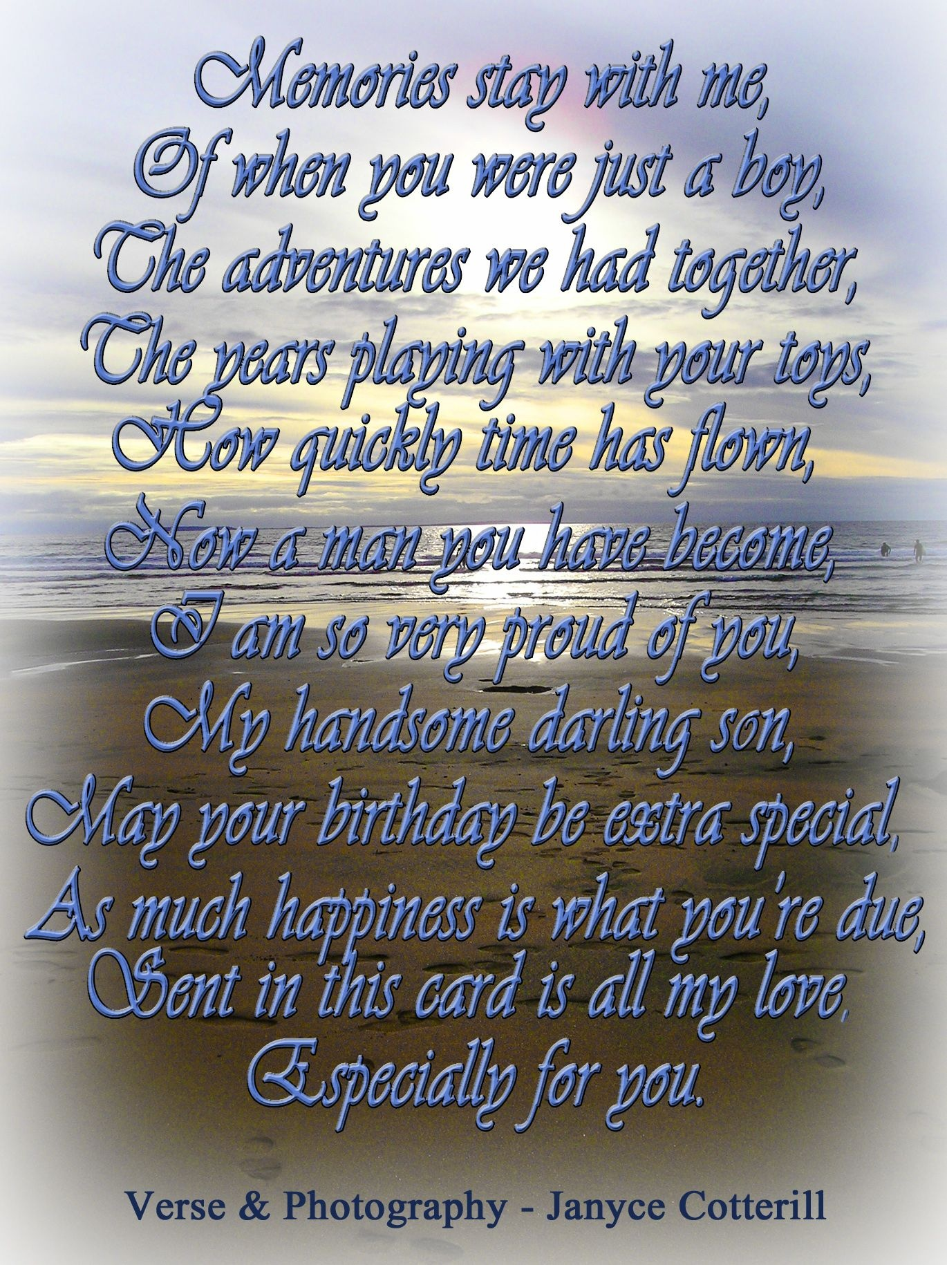 A Birthday Verse For A Son. Feel Free To Use This Verse In Your Card - Free Printable Birthday Cards For Mom From Son