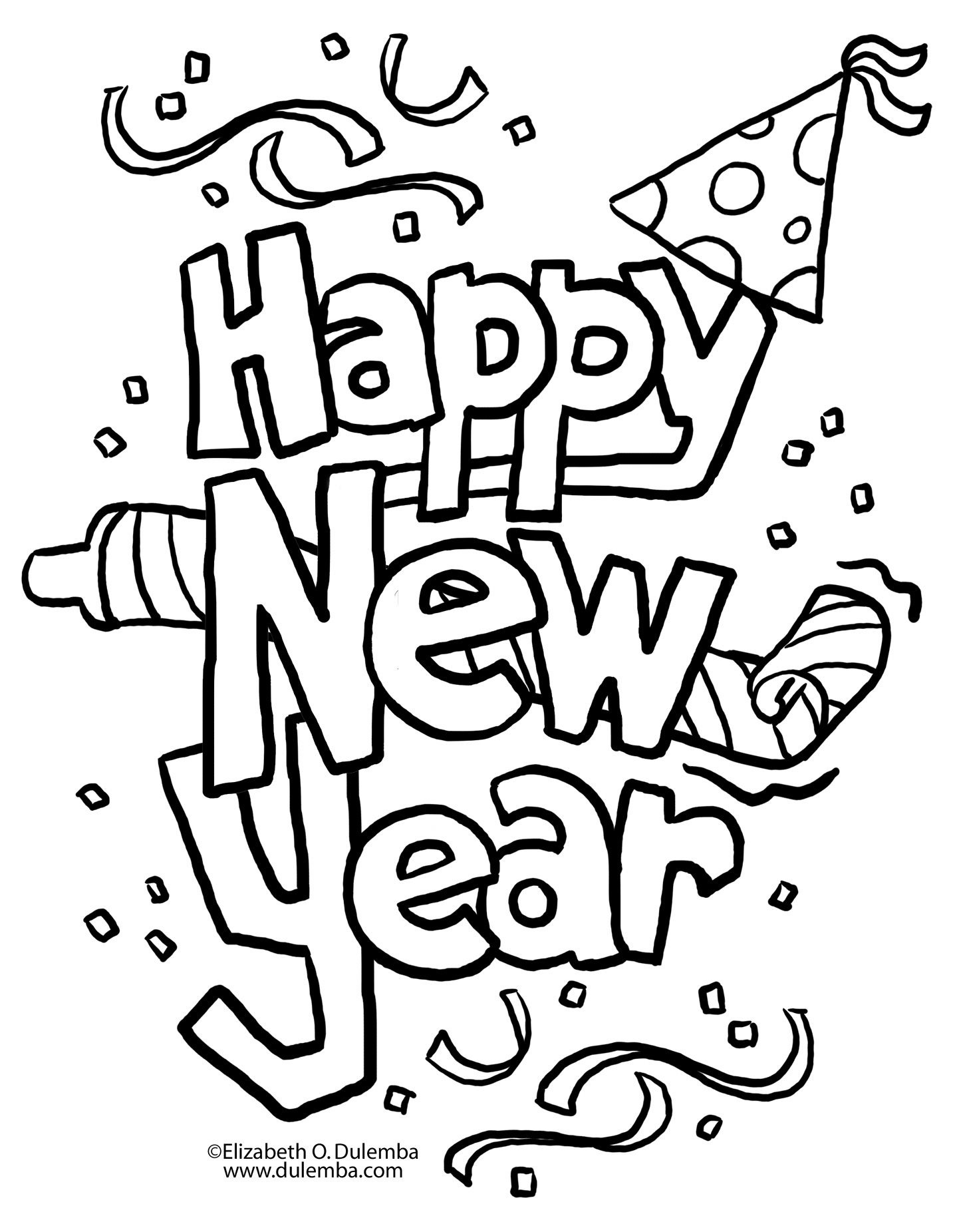 A New Twist On New Year's Eve | Coloring Pages | New Year Coloring - Free Printable Happy New Year Cards