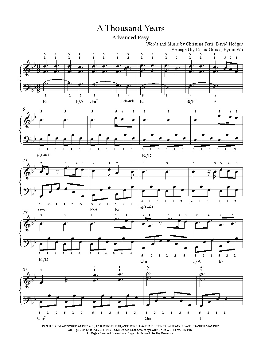 A Thousand Yearschristina Perri Piano Sheet Music | Advanced Level - Free Printable Music Sheets Pdf