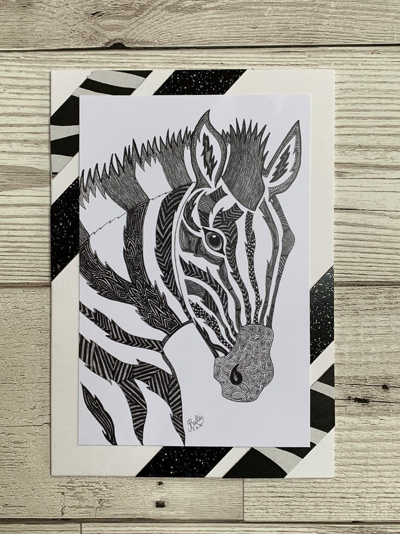 A6 Zebra Handmade Greeting Cards Animal Blank Cards For All   Etsy - Free Printable Greeting Cards For All Occasions