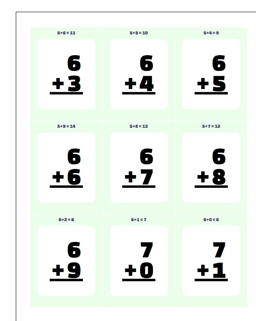 Addition Flash Cards - Free Printable Addition Flash Cards