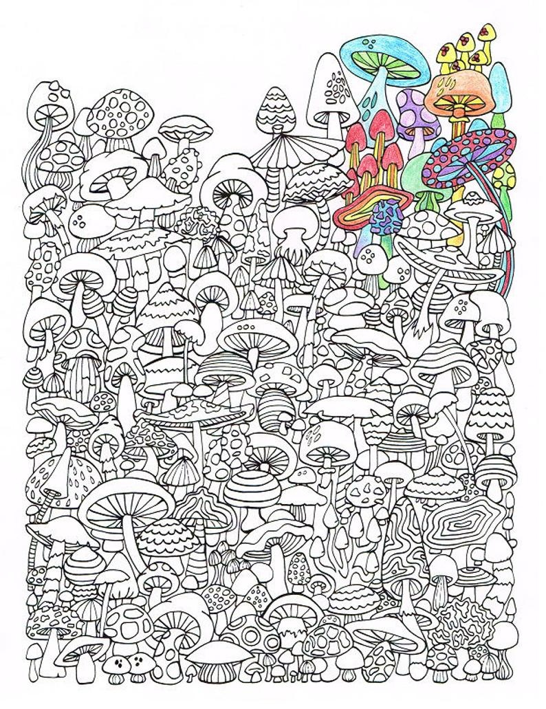 Adult Coloring Page Mushrooms Printable Coloring Page For | Etsy - Free Printable Mushroom Coloring Pages
